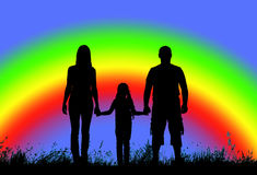Silhouette father, mother and daughter holding hands on a  background of rainbow Royalty Free Stock Photos