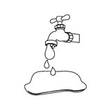 Silhouette faucet pouring out water drop icon Royalty Free Stock Image