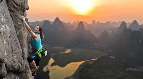 Silhouette of female athlete on Chinese mountain Royalty Free Stock Images