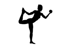 A silhouette of a female athlete working out Royalty Free Stock Images