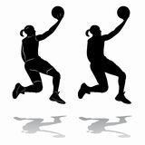 Silhouette female basketball player, vector drawing Royalty Free Stock Photos
