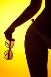 Silhouette of female body with bikini Royalty Free Stock Photography