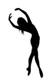 silhouette of female dancer in black and white Stock Photo