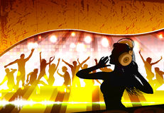 Silhouette of a female dj Royalty Free Stock Photos