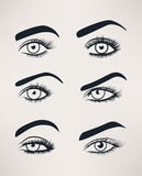 Silhouette of female eyes open, different shapes. Royalty Free Stock Photography