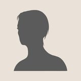 Silhouette of a female head. Face half turn view. Royalty Free Stock Image