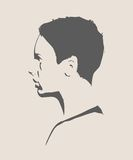 Silhouette of a female head. Face profile view. stock illustration