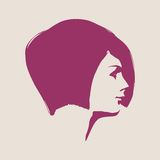 Silhouette of a female head. Face profile view. Royalty Free Stock Photos