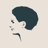 Silhouette of a female head. Face profile view. Stock Photography