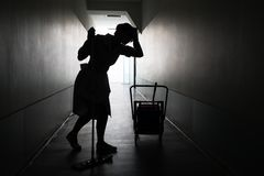 Silhouette of female maid with mop Stock Photos