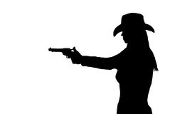Silhouette of a female shootist. Black and white silhouette of a female gunfighter taking aim Stock Photos