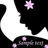 Silhouette female for text. Vector illustration. Silhouette female in profile with flower for text. Vector illustration Stock Photo