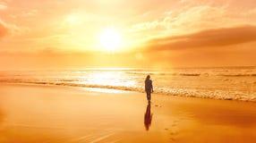 Silhouette femelle à la plage photos stock