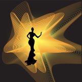 Silhouette femelle noire sur la sphère légère illustration libre de droits