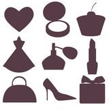 Silhouette of feminine accessories Stock Images