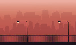 Silhouette of fence and lamp on the street scenery. Vector art vector illustration