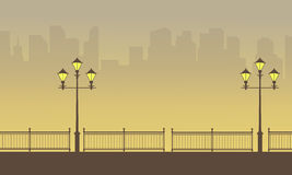 Silhouette of fence with street lamp beauty scenery. Vector art stock illustration