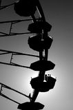 Silhouette of a ferris wheel. Black and white silhouette of a ferris wheel Royalty Free Stock Photo