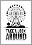 Silhouette of a ferris wheel at the park. Typography card vector illustration eps 10 Stock Image