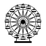 Silhouette Ferris wheel in thematic park icon Stock Images
