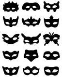 Silhouette of festive masks. Black silhouette of festive masks in black on a white background Royalty Free Stock Photo