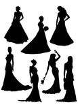 Silhouette of fiancee. Vector illustration Stock Photo