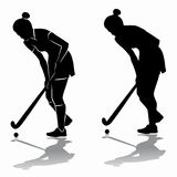 Silhouette of a field hockey player, vector draw. Silhouette of a field hockey player , black and white drawing, white background Stock Photos