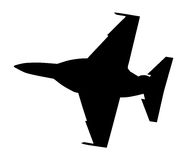 Silhouette of fighter plane isloated Royalty Free Stock Photo