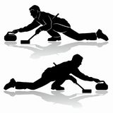 Silhouette of figure curling player , vector draw. Isolated silhouette of curling player , black and white drawing, white background Royalty Free Stock Images