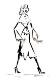 Silhouette figure of a girl drawn in ink Royalty Free Stock Photos