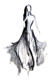Silhouette figure of a girl drawn in ink Royalty Free Stock Images