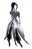 Silhouette figure of a girl drawn in ink Stock Images