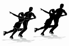 Silhouette of figure skating couple , vector draw. Isolated silhouette of figure skating couple , black and white drawing, white background Stock Photos