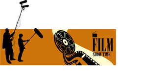 Silhouette figures. Film and television crew at the scene video Royalty Free Illustration