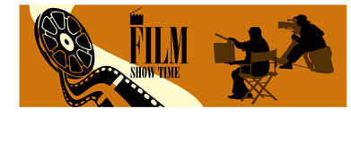 Silhouette figures. Film and television crew at the scene video Vector Illustration