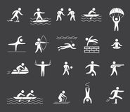 Silhouette figures of athletes popular sports. Vector Royalty Free Stock Images