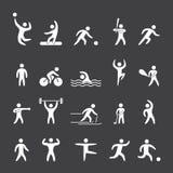 Silhouette figures of athletes sports Stock Photos