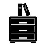 Silhouette file cabinet folder archive workplace. Vector illustration eps 10 Stock Photos