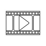 Silhouette filmstrip with play button. Vector illustration Stock Photo
