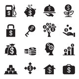 Silhouette  Financial Investment icons set Stock Photography