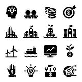 Silhouette Financial Investment icons set. Vector illustration Royalty Free Stock Photography