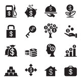 Silhouette  Financial Investment icons set Royalty Free Stock Photography