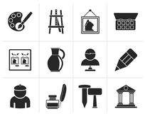 Silhouette Fine art objects icons. Vector icon set Royalty Free Stock Photo