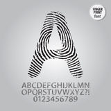 Silhouette Fingerprint Alphabet and Digit Vector. Set of Silhouette Fingerprint Alphabet and Digit Vector Stock Image