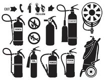 Silhouette of fire extinguisher. Flame protection symbols foam Monochrome vector pictures set of fire station equipment. Silhouette of fire extinguisher. Flame stock illustration