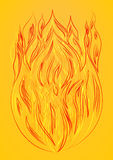 Silhouette of fire yellow background Royalty Free Stock Photography