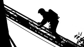 Silhouette of a Firefighter Stock Image