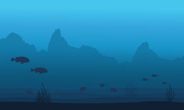 Silhouette of fish and coral reef landscape. Vector art Royalty Free Stock Images