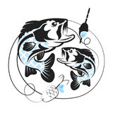 Silhouette of fish for fishing. A pair of fish and tackle for fishing Stock Images