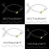 Silhouette of a fish with a fork and knife fish minimalist restaurant logo. Silhouette of a fish with a fork and knife fish minimalist art restaurant logo Royalty Free Stock Photos